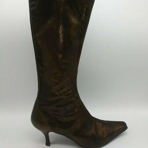 Donald J Pliner Leda Lizard Print Knee Boots 8.5 M